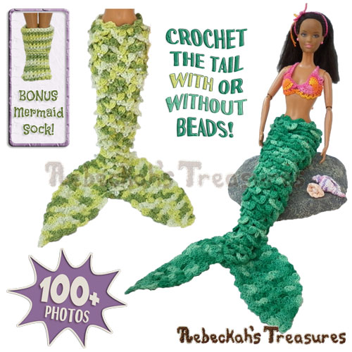 Crocodile Mermaid Tail Fashion Doll Crochet Pattern PDF $9.75 by Rebeckah's Treasures! Grab it here: http://goo.gl/upXN0u #barbie #crochet