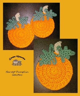 Harvest Pumpkin Coasters by Cylinda of Crochet Memories - Featured on @beckastreasures Saturday Link Party!