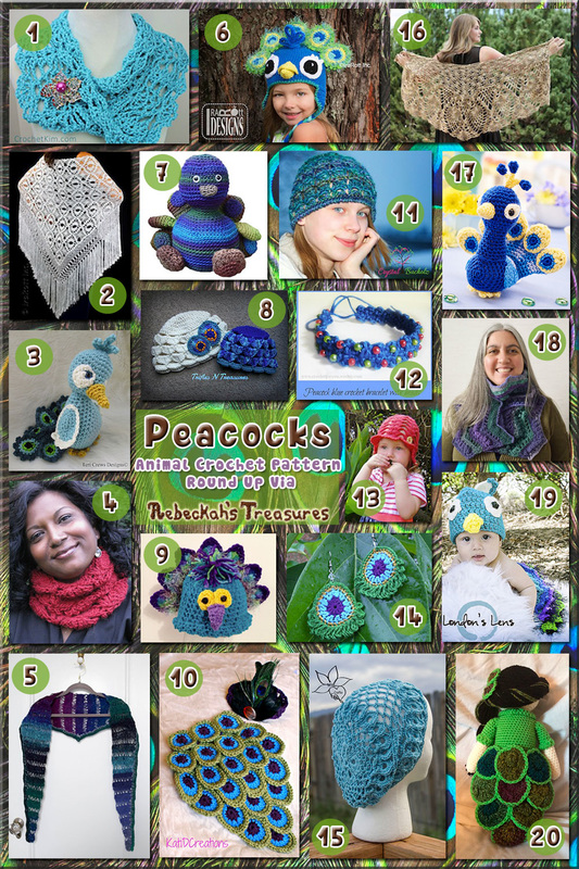 Peacocks - Animal Crochet Pattern Round Up via @beckastreasures