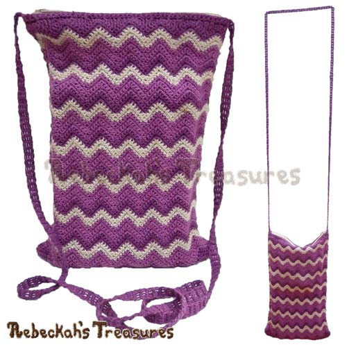 Free Chevron Shoulder Bag Crochet Pattern by Rebeckah's Treasures! See it here: http://goo.gl/HGtnf4 #chevron #crochet #bag