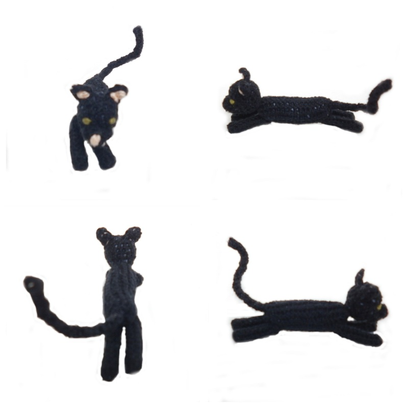Rebeckah's Treasures: Black Crochet Barbie Kitty Stretched Out