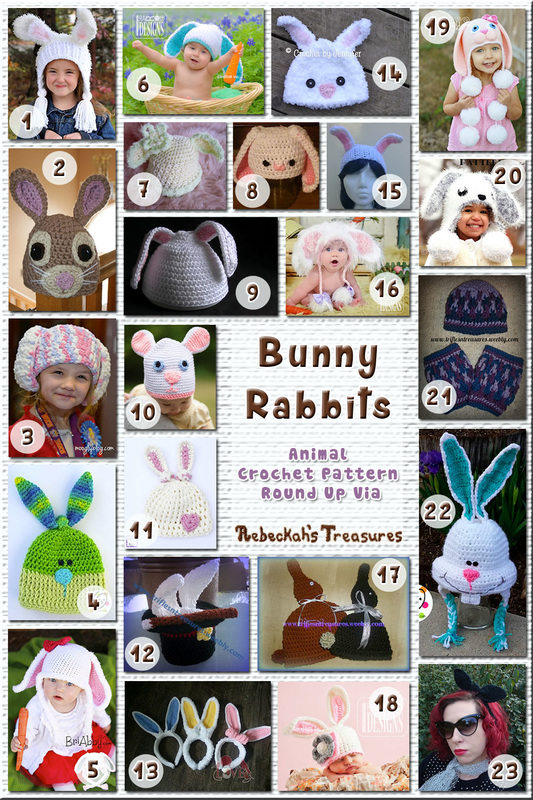 23 Amazing Bunny Rabbit Hats & Headbands – via @beckastreasures with @TriflsNTreasurs | 11 Easter Animal Crochet Pattern Round Ups!