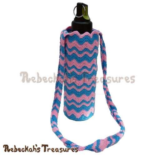 Free Chevron Water Bottle Cozy Crochet Pattern by Rebeckah's Treasures! See it here: http://goo.gl/IxMXMf #chevron #crochet #bottle #cozy
