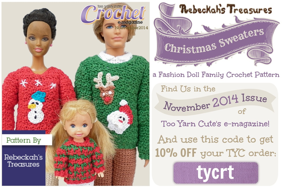 Fashion Doll Family Christmas Sweaters - TYC Magazine Pattern! http://www.rebeckahstreasures.com/blog/fashion-doll-family-christmas-sweaters