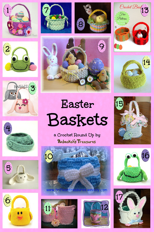 17 Pretty Easter Baskets – Crochet Pattern Round Up via @beckastreasures | A Round Up of 8 Easter Round Ups!