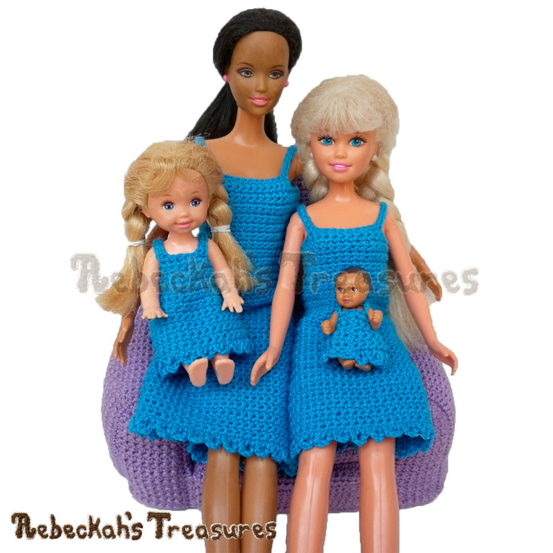 Simply BLUEtiful Fashion Doll Dresses / Free Crochet Patterns by @beckastreasures