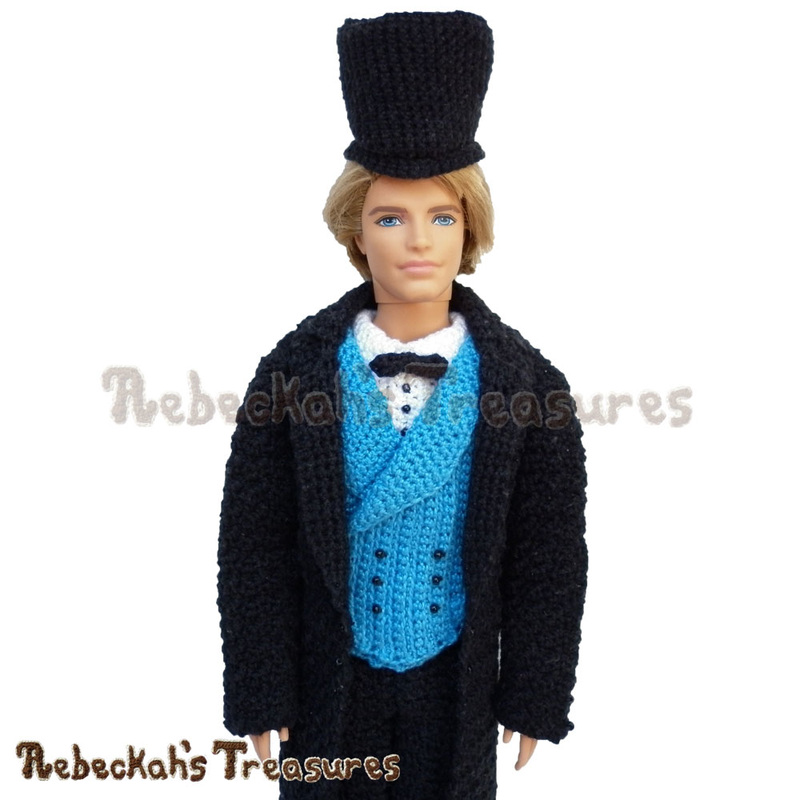 Gentleman Fashion Doll | Newsletter freebie crochet pattern via @beckastreasures | A daper, young sir to delight any little miss! #ken #barbie #crochet