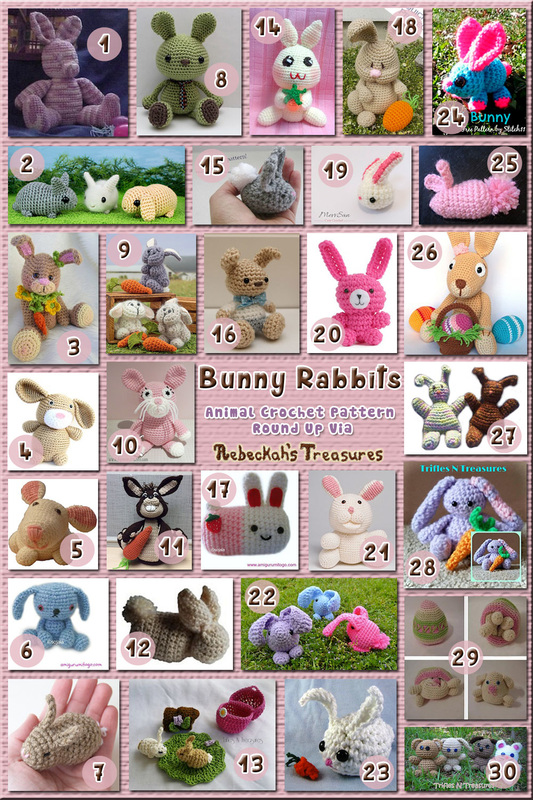 Bunny Rabbits Part 2 – Seated & Crouched Toys & Softies | Animal Crochet Pattern Round Up via @beckastreasures