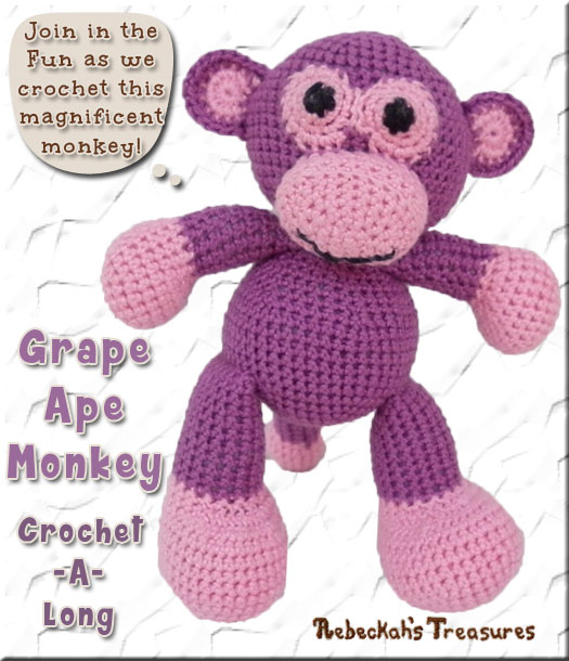 Amigurumi Grape Ape Monkey Cal - Part 1 via @beckastreasures / Join me as we crochet this magnificent amigurumi Grape Ape Monkey, who likes getting into mischief and making you laugh!