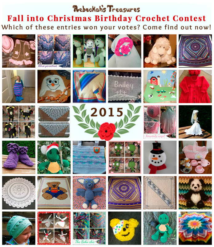 It's time to find out who were the top 5 contestants in the Fall into Christmas Birthday Crochet Contest for 2015 and which of their entries got the most votes! via @beckastreasures