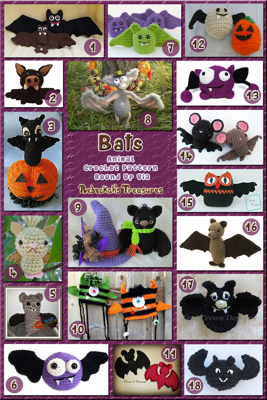 Bats - Animal Crochet Pattern Round Up via @beckastreasures