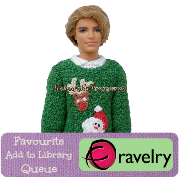 Favourite, Add to Library & Queue Dad's Fashion Doll Christmas Sweater on Ravelry http://www.ravelry.com/patterns/library/dads-fashion-doll-christmas-sweater-crochet-pattern