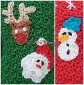 Christmas Crochet Appliques - Rudolf, Santa and Frosty!