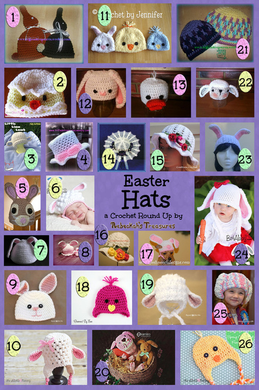 Easter Hats Crochet Pattern Round Up via @beckastreasures