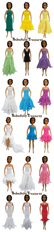 Round Up of 18 Dress Previews for Barbie's New Collection ~ From top-left: 1. Right Asymmetrical Ice Princess Dress, 2. Left Asymmetrical Mini Ball Gown Dress, 3. V-Neck Little Black Dress, 4. Halter Column Dress, 5. Sweetheart Halter Strap A-Line Summer Dress, 6. Halter Strap Ball Gown Summer Dress, 7. Scoop High-Low Dress with Train, 8. Low Scoop Princess Dress, 9. Sweetheart Scoop High-Low Dress, 10. Spaghetti Strap Square A-Line Dress, 11. Square Ball Gown Dress, 12. Jewel High Waist Dress, 13. Off-the-Shoulder Sweetheart Capped Sleeves Cocktail Dress, 14. Queen Anne Mermaid Dress, 15. Sweetheart Illusion Fishtail Dress, 16. Sweetheart Flowy High-Low Dress, 17. Straight-Across Beaded A-Line Dress with Train, and 18. Bateau Ball Gown Dress.