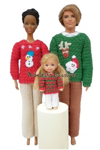Fashion Doll Family Christmas Sweater Crochet Pattern
