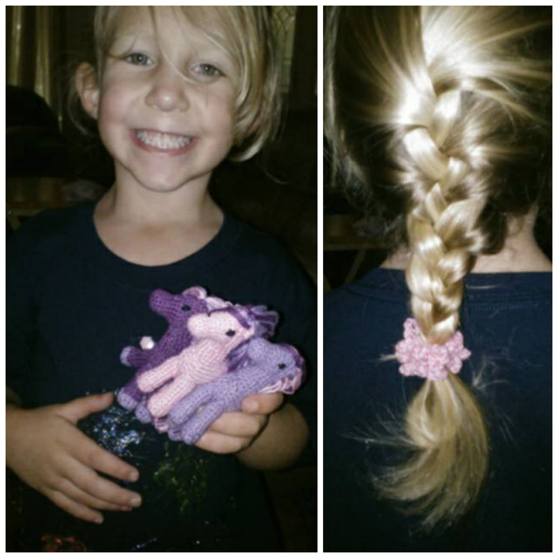Happy Gift Receiver of Crochet Ponies and Little Girl Scrunchies!