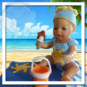 Baby Doll Beach Theme Set - Free Crochet Pattern by @CCWJoanita | Featured at Creative Crochet Workshop - Sponsor Spotlight Round Up via @beckastreasures | #fallintochristmas2016 #crochetcontest #spotlight #crochet #roundup