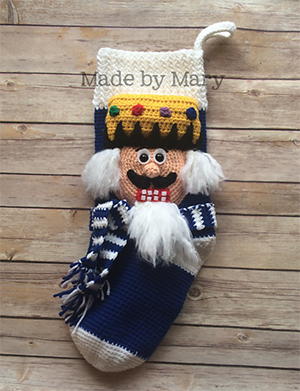 Nutcracker Stocking - Crochet Pattern by #MadebyMary | Featured at Made by Mary - Sponsor Spotlight Round Up via @beckastreasures | #fallintochristmas2016 #crochetcontest #spotlight #crochet #roundup