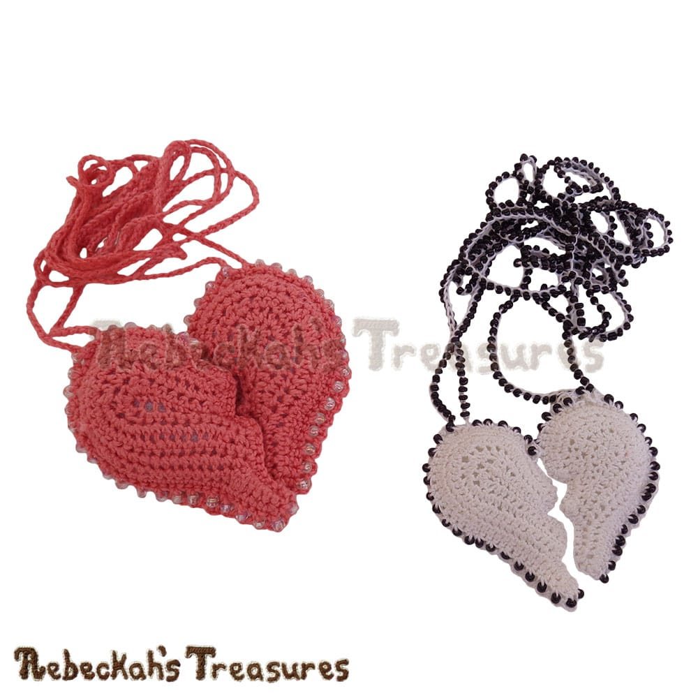 2 Broken Heart Necklaces! | Crochet Pattern by @beckastreasures for @getstuffed! | Will it be an amigurumi or an appliqué? Will it be a necklace, a fob or a pillow? Will the hearts be separated to share with your besties or kept whole to show broken hearts can be mended? YOU get to decide!!! | Available exclusively in #GetStuffedMagazine - the January 2017 issue - Get your copy today! | #crochet #pattern #brokenheart #valentine #heart #amigurumi #appliqué #necklace #fob #pillow