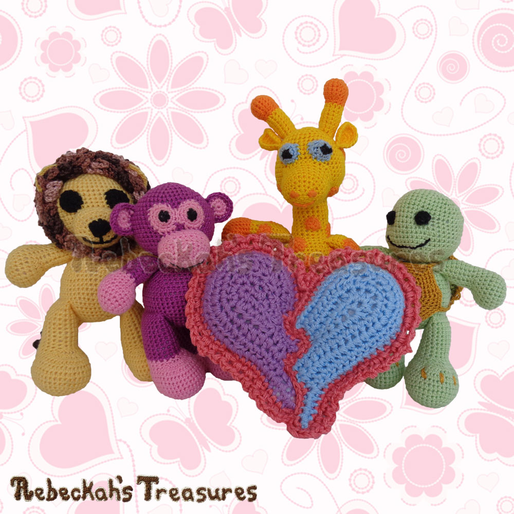 Amigurumi Animals with Dolly's Pillow! | Dolly's Broken Heart Pillow Story | A Crochet Pattern by @beckastreasures for @getstuffed | Is it an amigurumi or an appliqué? Will it be a necklace, a fob or a pillow? Are the hearts separated to share with your besties or kept whole to show broken hearts can be mended? YOU get to decide!!! | #crochet #pattern #brokenheart #valentine #heart #amigurumi #appliqué #necklace #fob #pillow