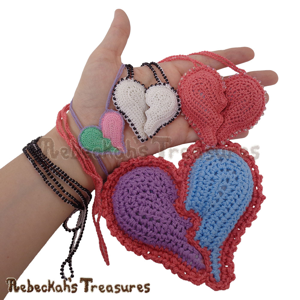 All the Heart Projects Together in my Hand! | Beaded Friendship Broken Heart Necklaces Story | A Crochet Pattern by @beckastreasures for @getstuffed | Is it an amigurumi or an appliqué? Will it be a necklace, a fob or a pillow? Are the hearts separated to share with your besties or kept whole to show broken hearts can be mended? YOU get to decide!!! | #crochet #pattern #brokenheart #valentine #heart #amigurumi #appliqué #necklace #fob #pillow
