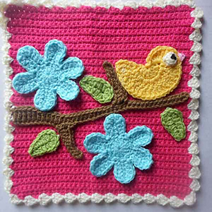 Bird & Flower Applique Set Afghan Block - Free Crochet Pattern by @CCWJoanita | Featured at Creative Crochet Workshop - Sponsor Spotlight Round Up via @beckastreasures | #fallintochristmas2016 #crochetcontest #spotlight #crochet #roundup