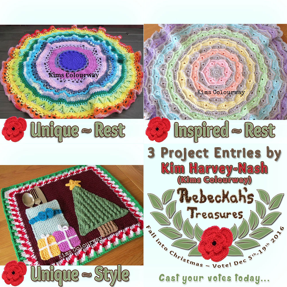 Meet Kim Harvey-Nash of Kims Colourway! |Fall into Christmas 2016 - Contestants with names D-K via @beckastreasures! | Get to know more about her entries, if they have patterns and where they can be found. | Vote for your favourites from Dec. 5th-19, 2016! | #fallintochristmas2016 #crochetcontest #meetthecontestants