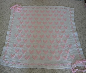 Pink Hearts Baby Afghan by @LivingPlastic | via I Heart Blankets, Pillows & Rugs - A LOVE Round Up by @beckastreasures | #crochet #pattern #hearts #kisses #valentines #love