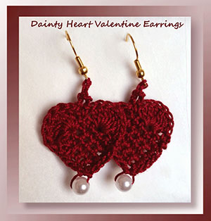 Dainty Heart Valentine Earrings by @crochetmemories | via I Heart Jewels & Hair - A LOVE Round Up by @beckastreasures | #crochet #pattern #hearts #kisses #valentines #love