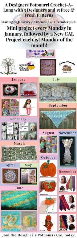 A Designer's Potpourri Year-Long CAL with @beckastreasures, @countrywillow12, @crochetmemories, @Sherrys2boyz & @ArtofaDG | 23 #FREE #crochet patterns | Starts January 4th, 2016 and last all year | Join today!