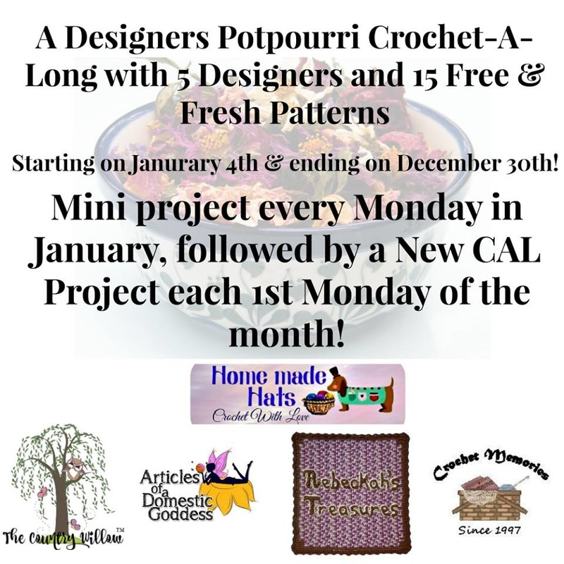 A Designer's Potpourri Year-Long CAL with @beckastreasures, @countrywillow12, @crochetmemories, @Sherrys2boyz & @ArtofaDG | NOW 23 #FREE #crochet patterns | Starts January 4th, 2016 and last all year | Join today!