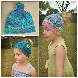 Cotton Candy Wings Messy Bun Hat | Friday Feature #18 via @beckastreasures with @ArtofaDG #crochet | See the latest designer features here: https://goo.gl/UIvoYx OR SIGN UP to get featured at Rebeckah's Treasures here: https://goo.gl/xjDP52 #crochet