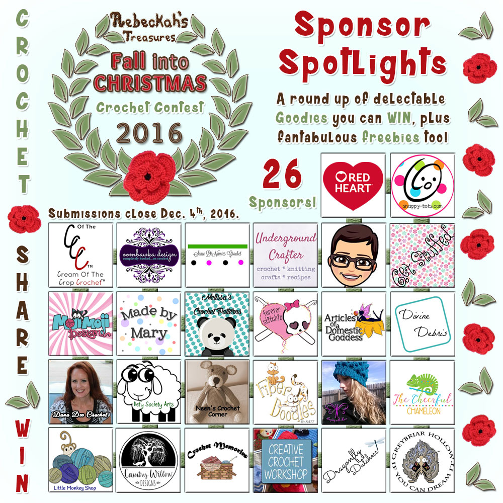 Sponsor Spotlights - a round up of delectable goodies you can buy or #WIN, plus fantabulous #freebies from ALL 26 sponsors for the Fall into Christmas Crochet Contest 2016 via @beckastreasures | #fallintochristmas2016 #crochetcontest #spotlight #crochet #roundup