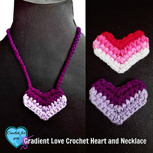 Gradient Love Heart / Necklace by @erangi_udeshika | via I Heart Jewels & Hair - A LOVE Round Up by @beckastreasures | #crochet #pattern #hearts #kisses #valentines #love