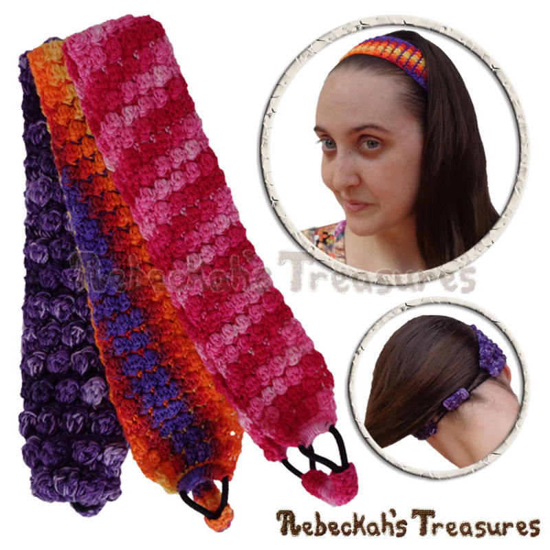 Pebble Bobbles Headband by @beckastreasures | Limited Time Free Crochet Pattern for A Designer's Potpourri Year-Long CAL with @countrywillow12, @crochetmemories, @Sherrys2boyz & @ArtofaDG | #headband #crochet #pattern #pebbles #bobbles #holidaygift #stashbuster | Join today!