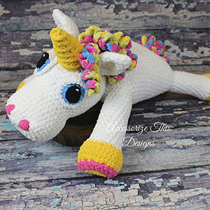 Abigail the Unicorn Pillow Buddy | Featured at Tuesday Treasures #22 via @beckastreasures with #accessorizethisdesigns | #crochet