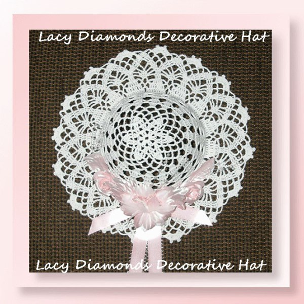 Lacy Diamonds Decorative Hat | Crochet Pattern by @crochetmemories | Featured on @beckastreasures with the Lacy Diamonds Doily - Free Crochet Pattern!