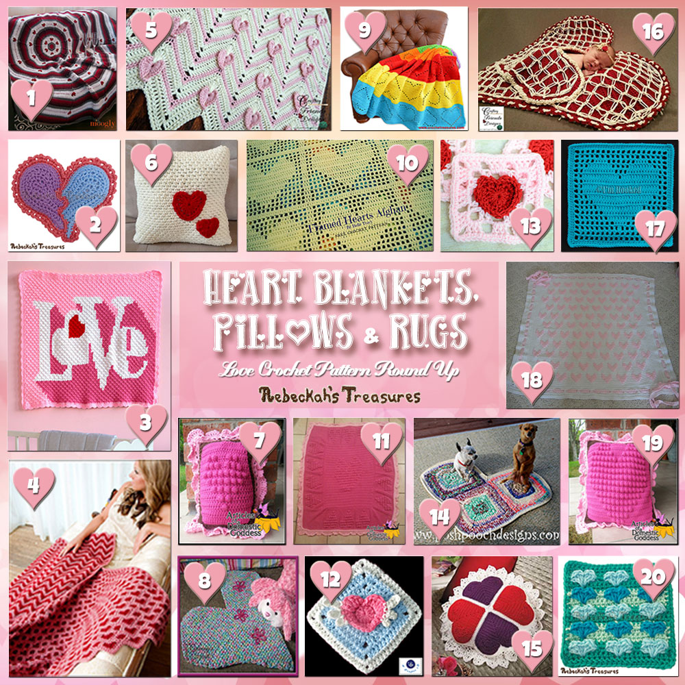 I Heart Blankets, Pillows & Rugs! | A LOVE Round Up by @beckastreasures with & MORE! | Featuring 20 #Crochet #Patterns from 14 designers (11 #FREE + 9 Premium) | #hearts #kisses #valentines #love