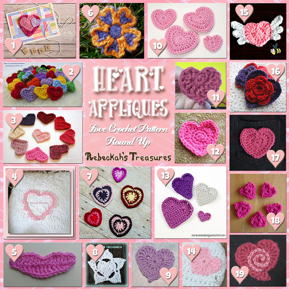 Be Mine Appliqués! (Collage A) | A LOVE Round Up by @beckastreasures with & MORE! | Featuring 37 #Crochet #Patterns from 21 designers (36 #FREE + 1 Premium) | #hearts #kisses #valentines #love