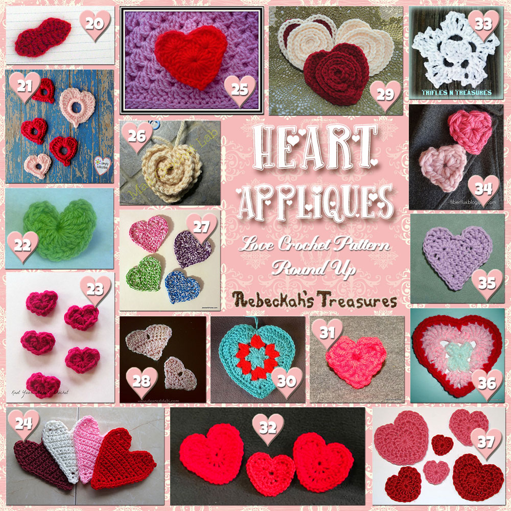 Be Mine Appliqués! (Collage B) | A LOVE Round Up by @beckastreasures with & MORE! | Featuring 37 #Crochet #Patterns from 21 designers (36 #FREE + 1 Premium) | #hearts #kisses #valentines #love