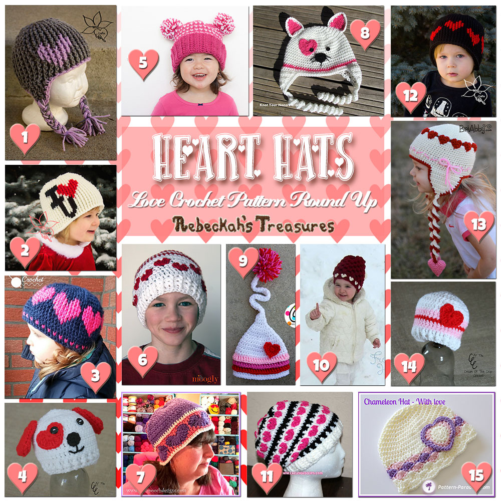 I Heart Hats! (Collage A) | A LOVE Round Up by @beckastreasures with & MORE! | Featuring 31 #Crochet #Patterns from 18 designers (18 #FREE + 13 Premium) | #hearts #kisses #valentines #love