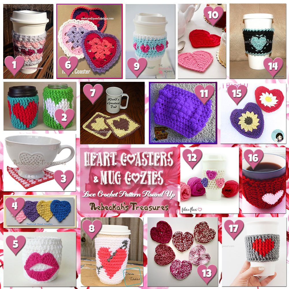 Be Mine Coasters & Cozies! | A LOVE Round Up by @beckastreasures with & MORE! | Featuring 17 #Crochet #Patterns from 16 designers (14 #FREE + 3 Premium) | #hearts #kisses #valentines #love