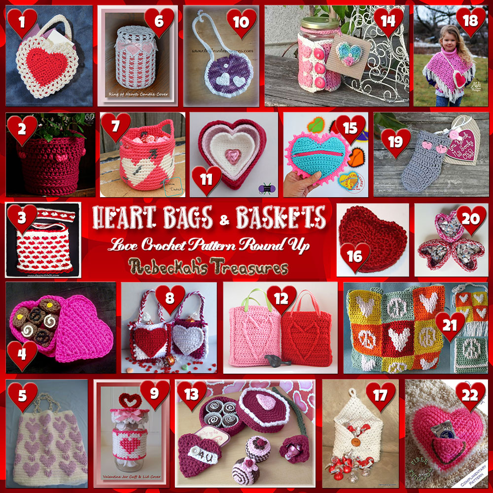 I Heart Bags & Baskets!| A LOVE Round Up by @beckastreasures with & MORE! | Featuring 22 #Crochet #Patterns from 18 designers (17 #FREE + 5 Premium) | #hearts #kisses #valentines #love