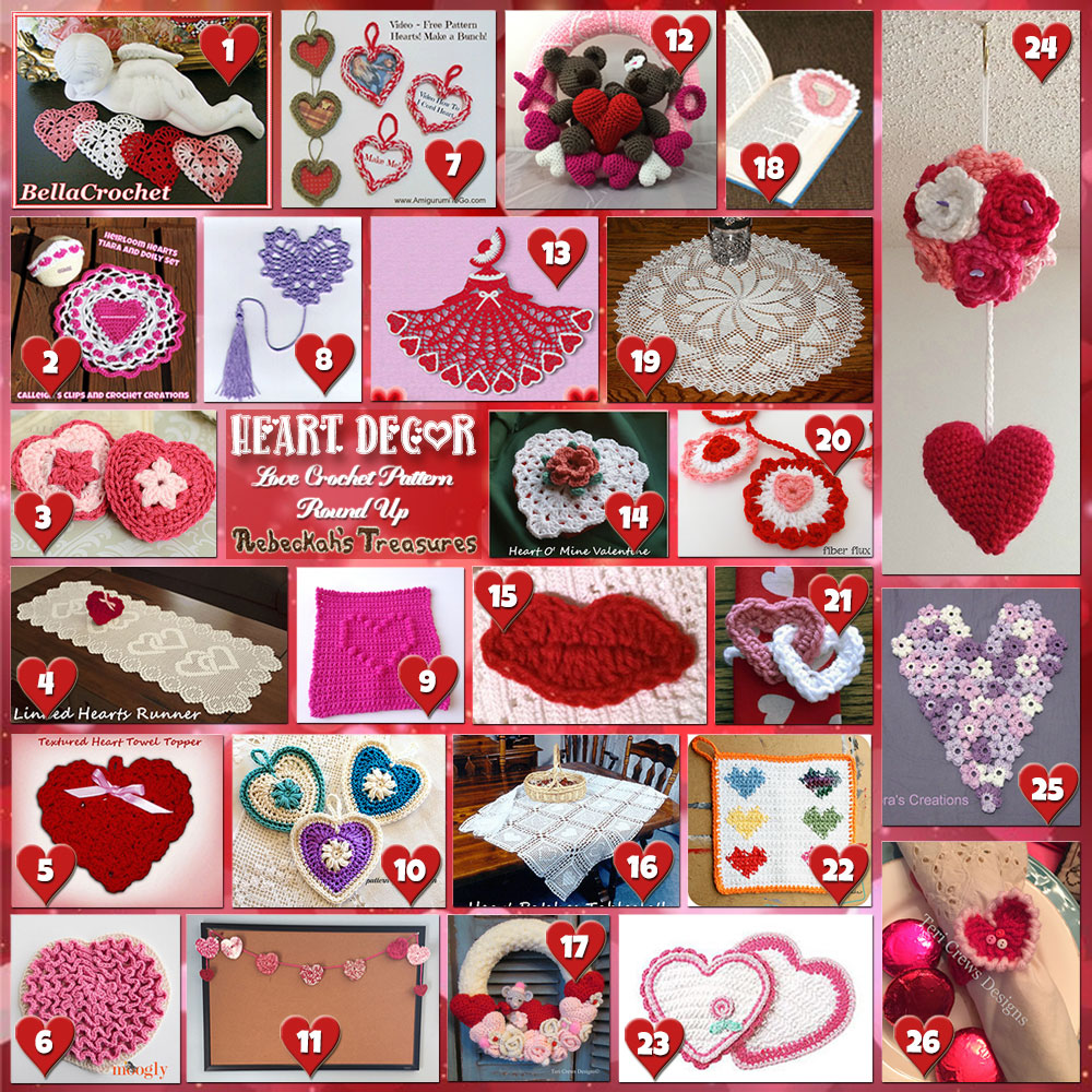 Be Mine Décor! | A LOVE Round Up by @beckastreasures with & MORE! | Featuring 26 #Crochet #Patterns from 16 designers (15 #FREE + 11 Premium) | #hearts #kisses #valentines #love