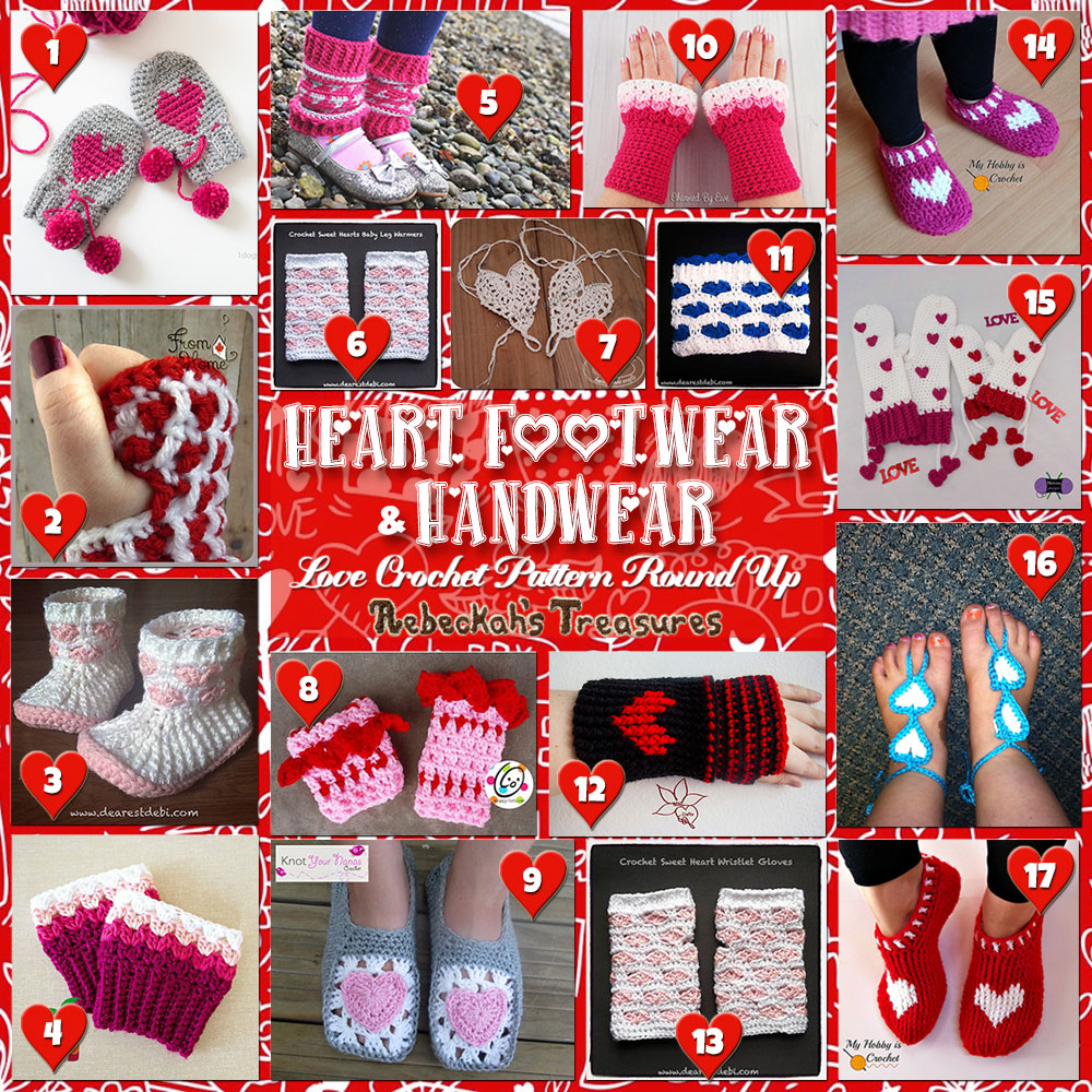 I Heart Hands & Feet! | A LOVE Round Up by @beckastreasures with & MORE! | Featuring 17 #Crochet #Patterns from 13 designers (12 #FREE + 5 Premium) | #hearts #kisses #valentines #love