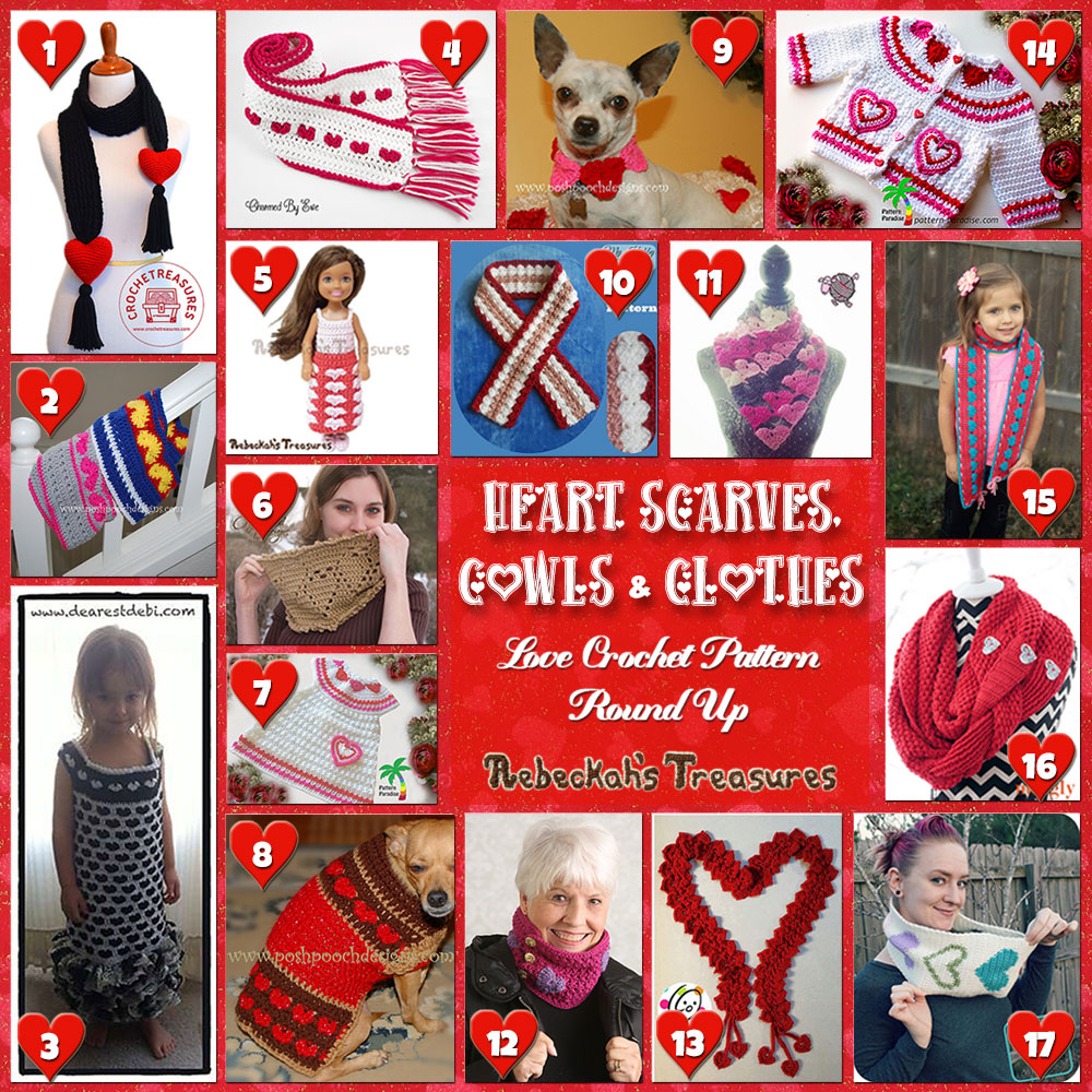 I Heart Clothes! | A LOVE Round Up by @beckastreasures with & MORE! | Featuring 17 #Crochet #Patterns from 13 designers (10 #FREE + 7 Premium) | #hearts #kisses #valentines #love