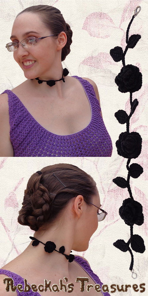 Vintage Black Ring Around the Rosy Choker Necklace | Premium Crochet Pattern by @beckastreasures with FREE video tutorials! | #rose #choker #necklace #crochet #pattern #tutorial #rosebud