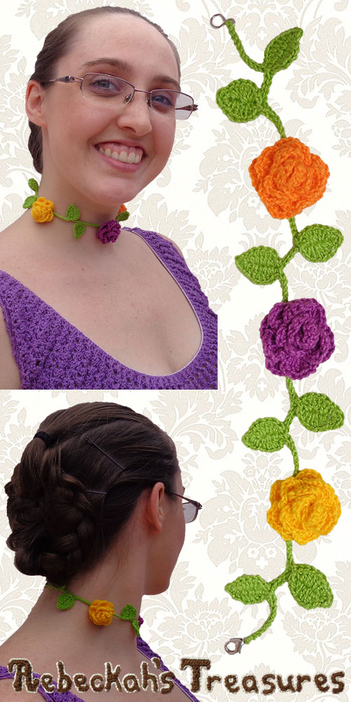 Springtime Blossoms Ring Around the Rosy Choker Necklace | Premium Crochet Pattern by @beckastreasures with FREE video tutorials! | #rose #choker #necklace #crochet #pattern #tutorial #rosebud