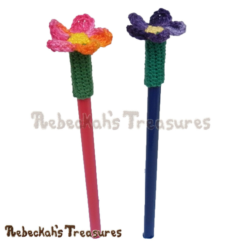 Crochet Flower Pencil Toppers Flowers Healthy
